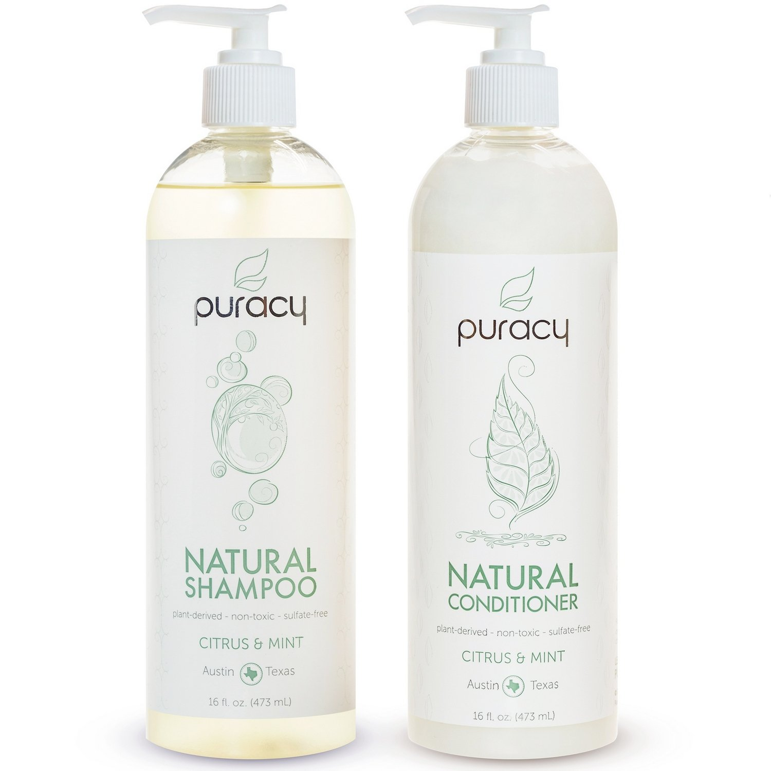 Puracy Natural Shampoo and Conditioner Set [2-Pack], Sulfate-Free, Plant-Powered, Salon-Tested for All Hair Types, 16 Ounce Pump Bottle [Set of 2]