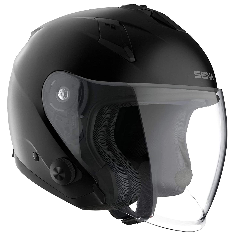 Sena Jethelm ECONO schwarz matt mit Visier und integriertem Bluetooth-Headset M 57//58