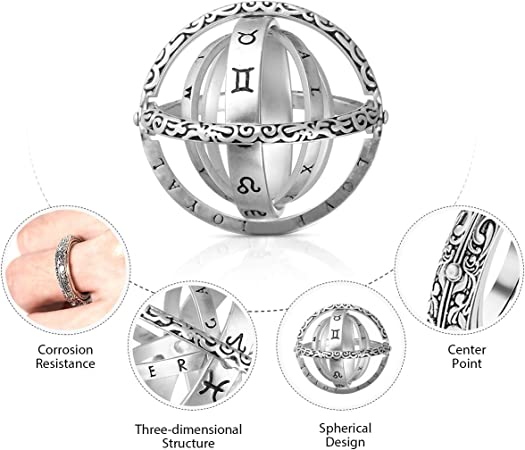 Astronomie Sphere Boule Anneau Cosmic Finger Ring Couple Amoureux Cadeaux