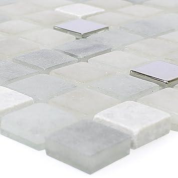 Mosaikfliesen Glas Naturstein Mix Freyland Grau | Wandverkleidung ...