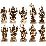 BHARAT HAAT Vishnu Dashavatar Idols Brass Collectible Handicraft Art, Yellow, Standard Size