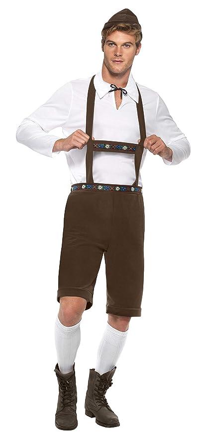 Smiffys Disfraz de hombre bávaro, Marrón, con lederhosen, tirantes, parte de arriba y so