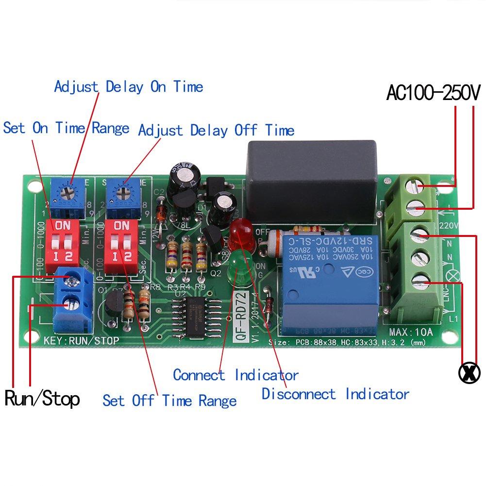 M/ódulo de rel/é interruptor de encendido//apagado de retardo de temporizador de ciclo infinito ajustable para circuito de control automatizado