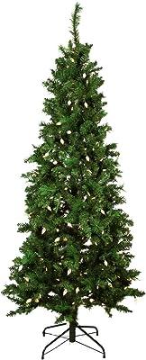 Northlight Pre-Lit Single Plug Slim Mixed Long Needle Pine Artificial Christmas Tree- Multi-Function LED Lights, 7'