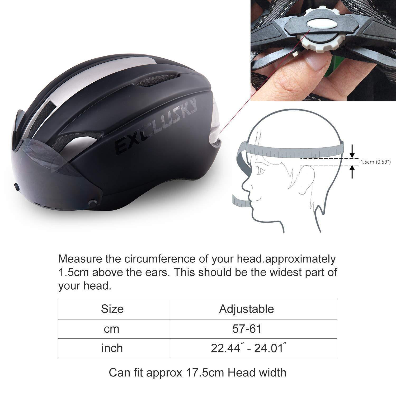 Exclusky AGT Road Bike Helmets for Women Men with Detachable Shield Visor 22-24 Inches Adjustable M L Size .