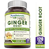 Pure Naturals Ginger Root Supplement - 550mg Capsules - Easy to Swallow Capsule - Commonly Used Natural Remedy for Nausea Due to Pregnancy & Other Conditions - 120 Pills Per Bottle