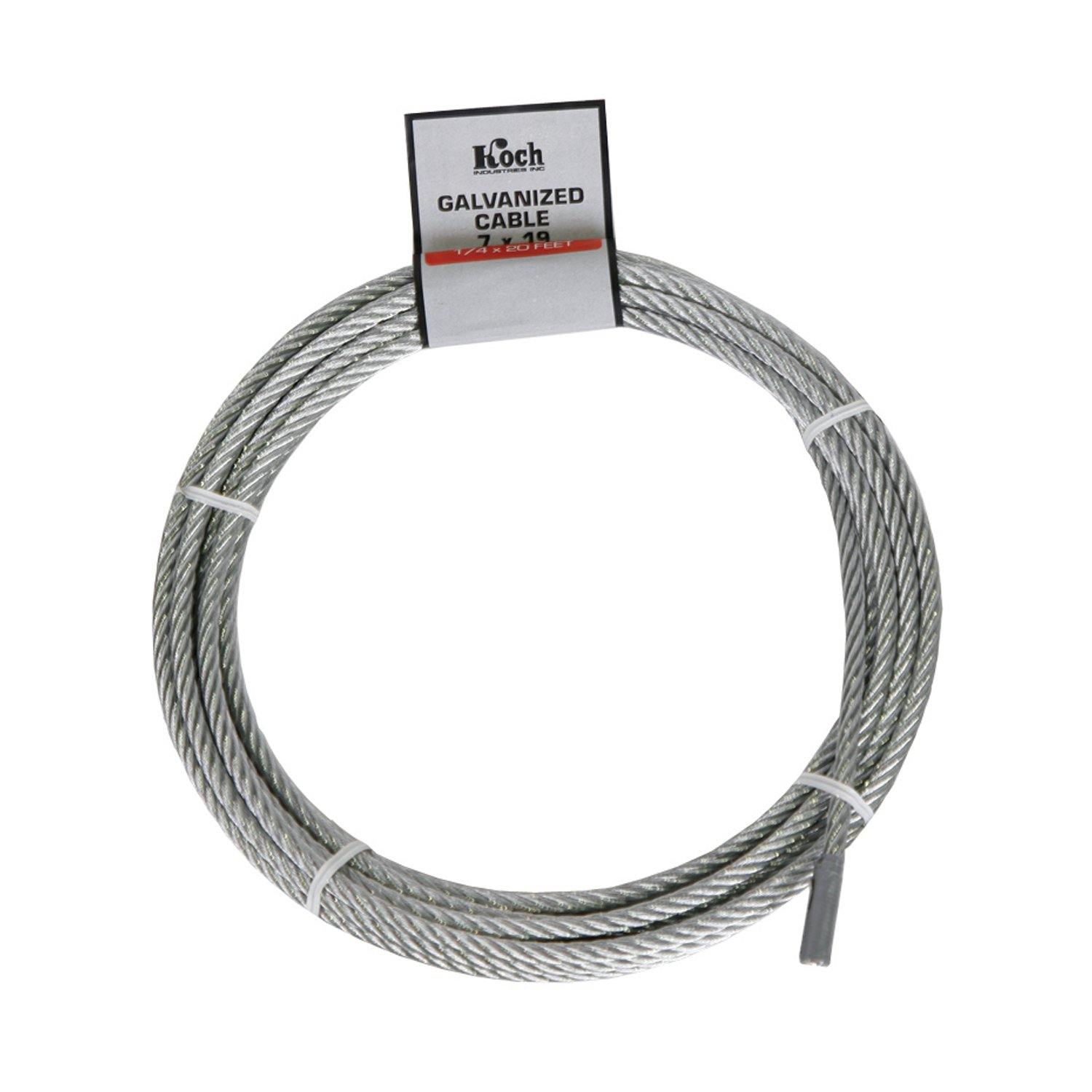 Koch A41212 7 x 19 Pre-cut Galvanized Wire Rope Cable 1/4-Inch by 20-Feet, Coil