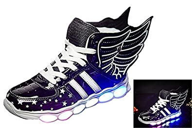 9ae0aba4f766 24XOmx55S99 Kids Winged LED Color LED Light Up Metallic Light-Up Shoes (Toddler