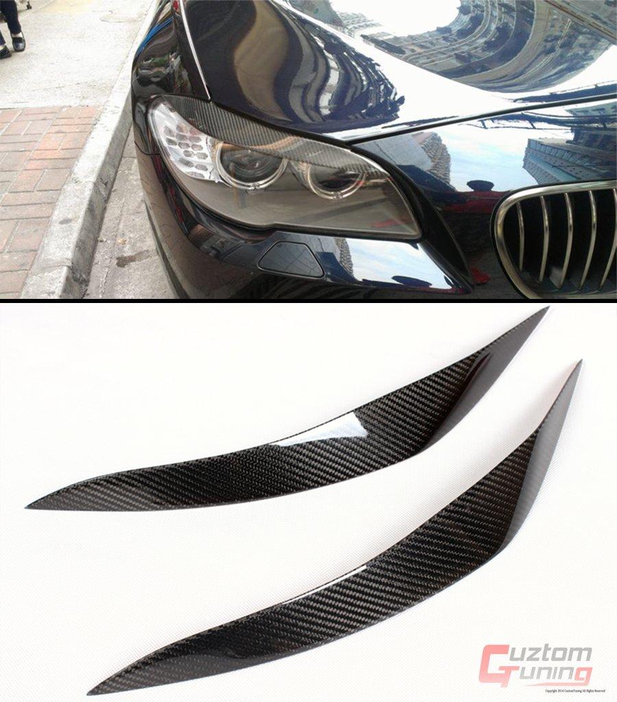 Cuztom Tuning Pair of L Style Sport Carbon Fiber Eyelid Eyebrow for BMW 2010-2016 F10 523I 528I 535I 550I M5