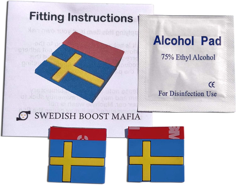 Swedish Boost Mafia Etiquetas de Goma para Bandera Sueca para Saab y Volvo, par de Insignias