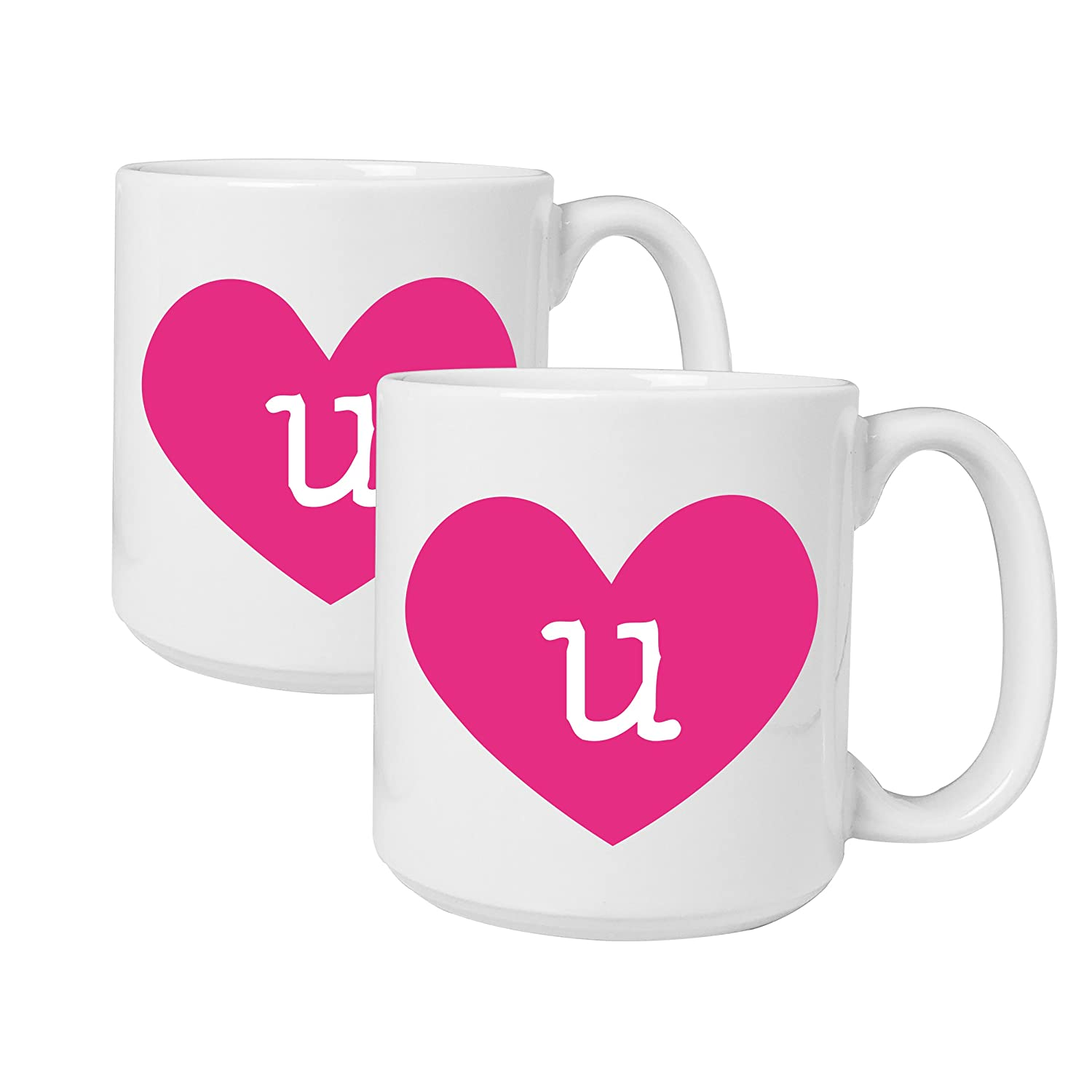 Amazon Cathys Concepts Personalized Heart Of Love Large Coffee Mugs Set 2 Letter R Kitchen Dining