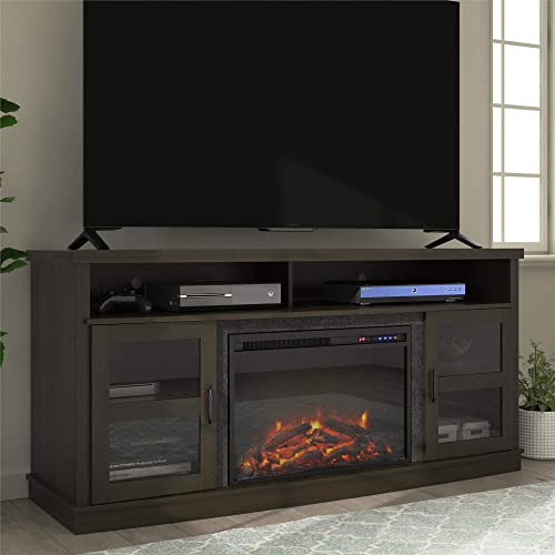 Ameriwood Home Ayden Park Fireplace TV Stand for TVs up to 65 , Black Oak