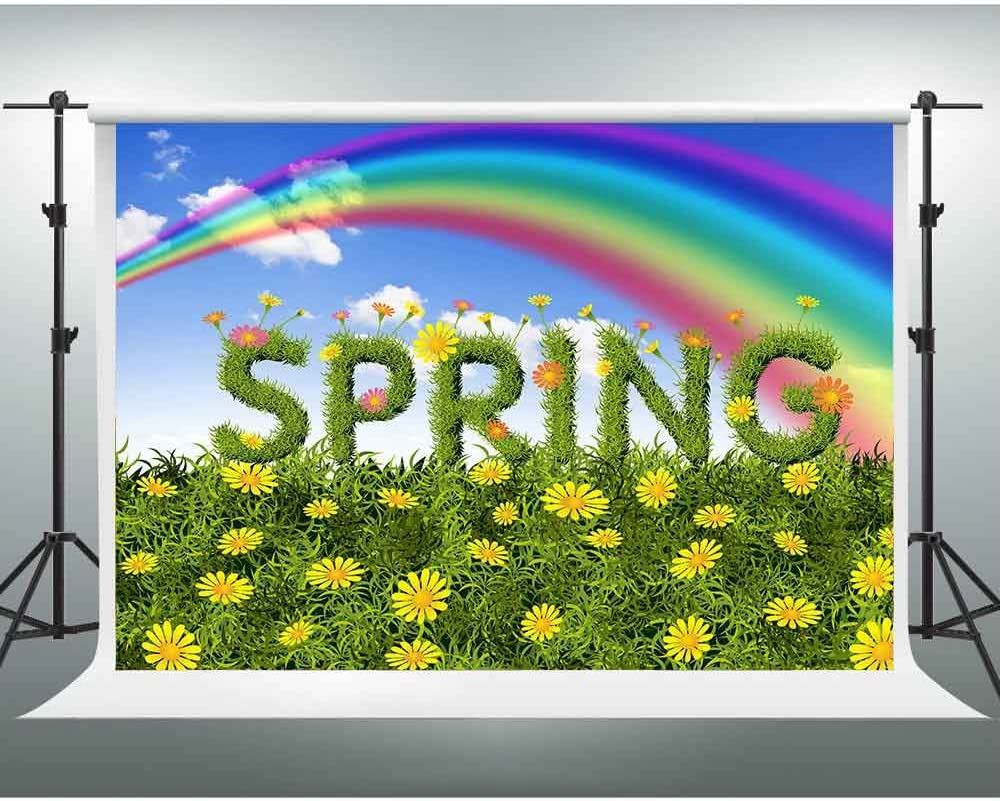 GESEN 10X7ft Fresh Green Backgdrop Spring Flowers Rainbow Theme Party Photography Backdrop You Tube Background TMGE034