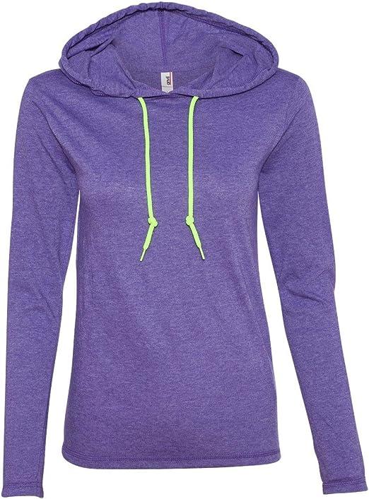 Women/'s Lightweight Long Sleeve Hooded T-Shirt 887L Anvil