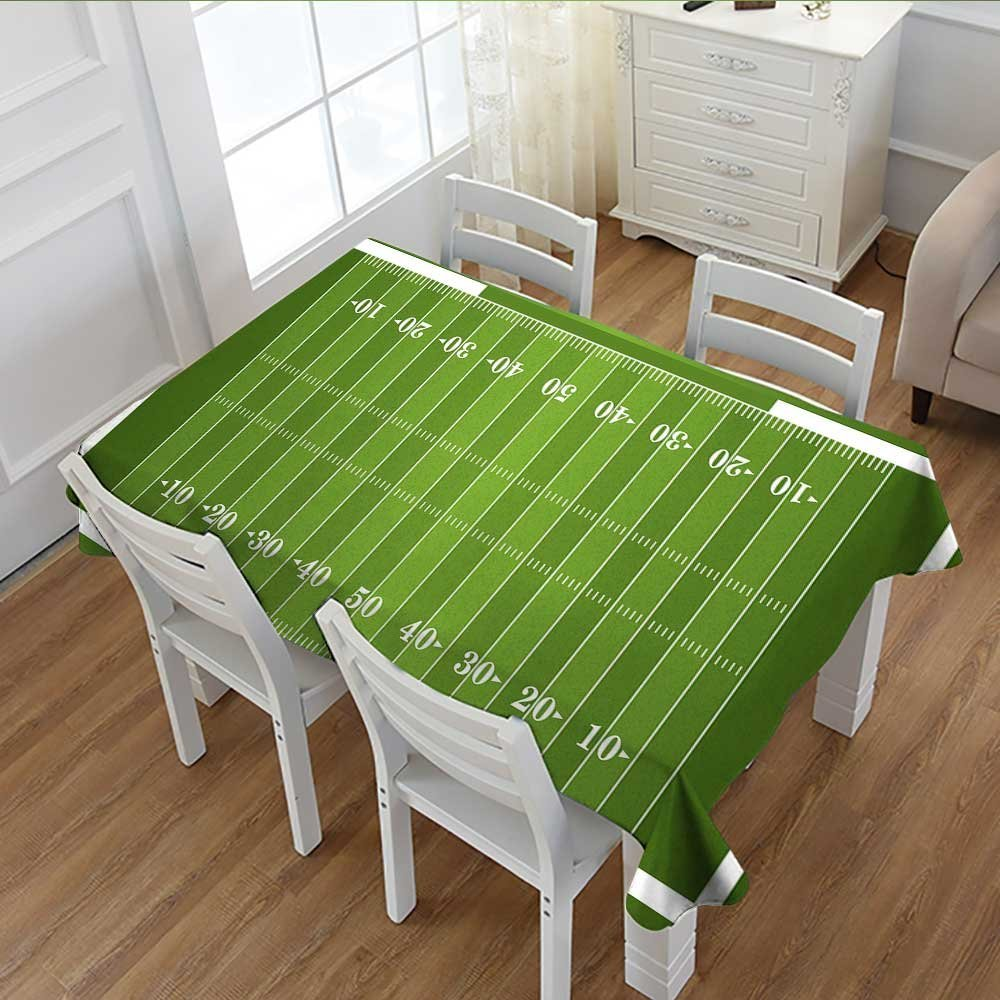 Davishouse Football Customized Tablecloth Sports Field in Green Gridiron Yard Competitive Games College Teamwork Superbowl Stain Resistant Wrinkle Tablecloth Green White 52''x70''