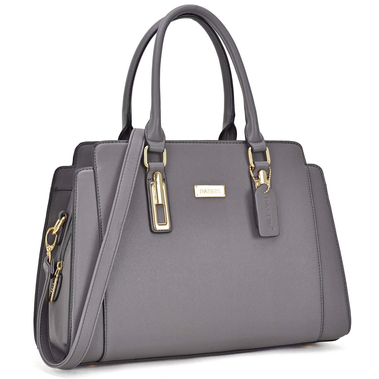 Dasein Women Designer Satchel Handbags Purse Shoulder Bag Work Bag With Removable Shoulder Strap (Grey)