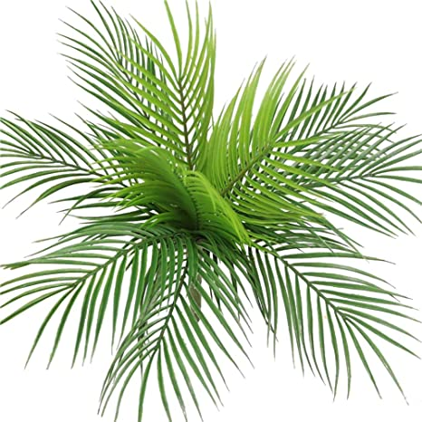 Green Artificial Palm Leaf Plastic Tree Fake Plants Garden Home Decoration