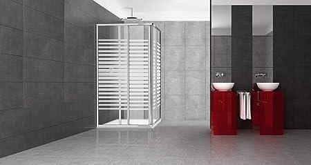 Cabina de ducha de cristal serigrafiado con puertas correderas de 68-80 cm x 68-80 cm: Amazon.es: Hogar