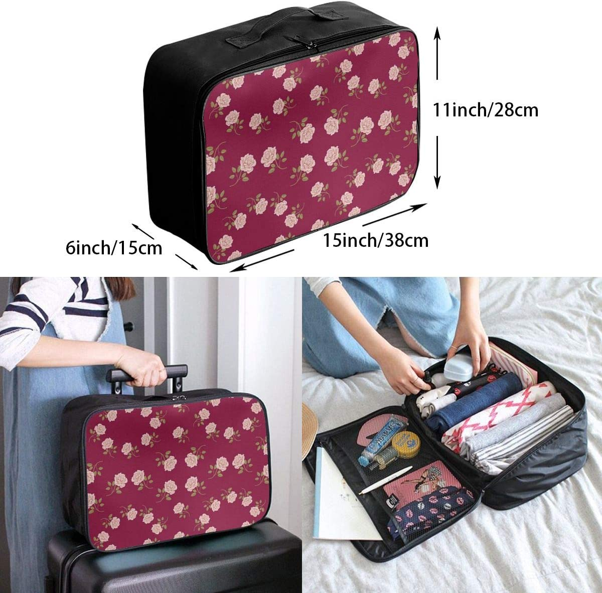 Yunshm Seamless Vintage Roses Pattern Vector Image Personalized Trolley Handbag Waterproof Unisex Large Capacity For Business Travel Storage