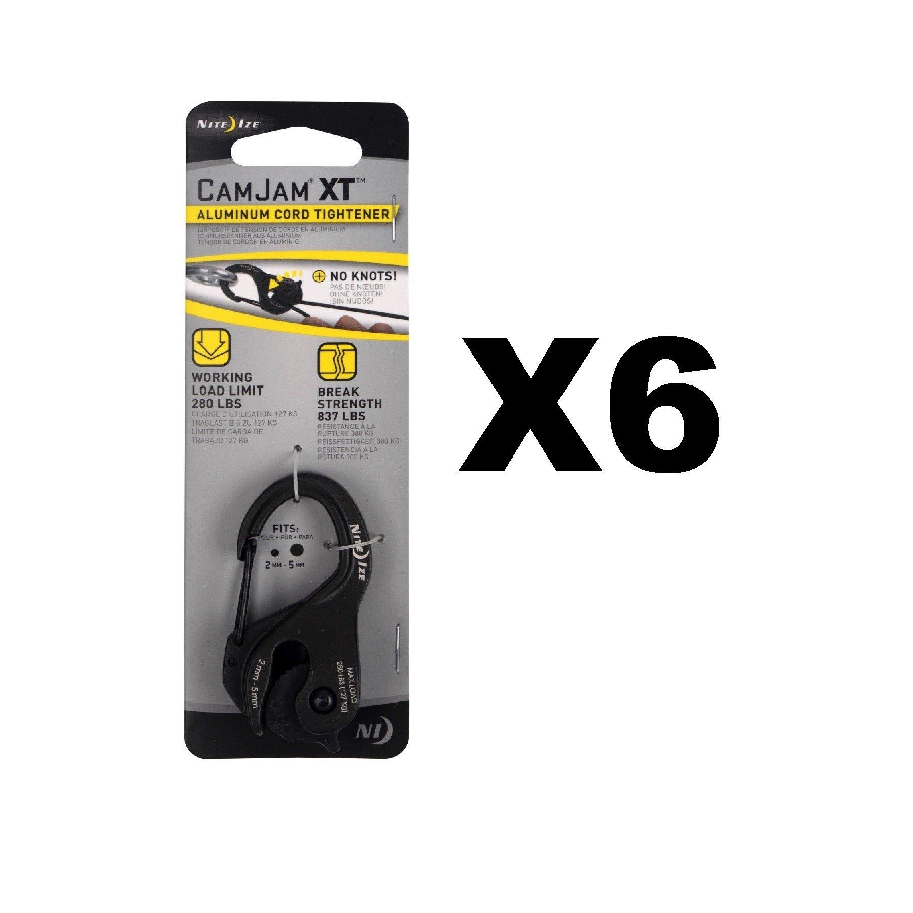 Nite Ize CamJam XT Black Aluminum Rope & Cord Tightener Tie Down Tool (6-Pack)