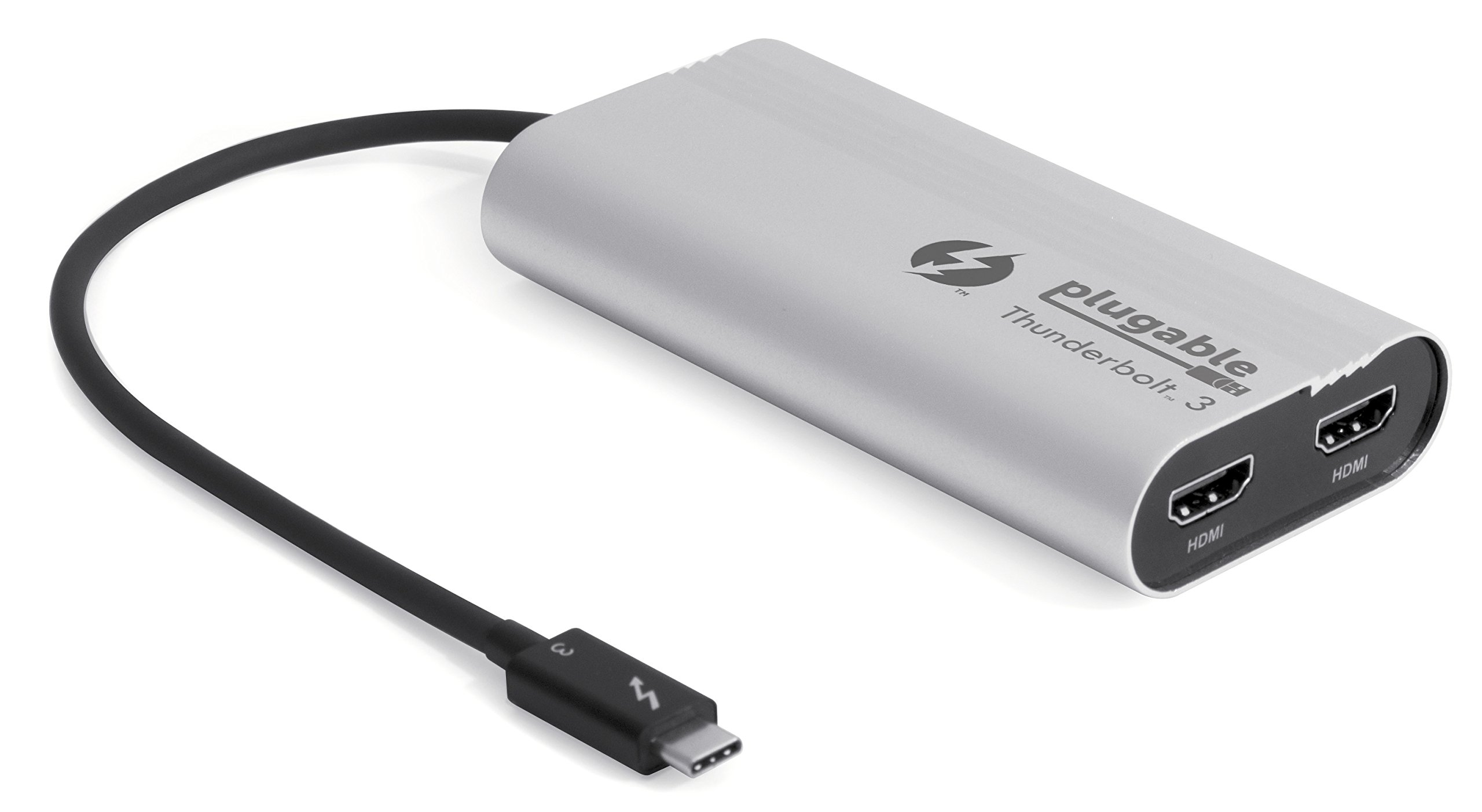 Plugable Thunderbolt 3 to Dual HDMI 2.0 Display Adapter for Thunderbolt 3 Apple Mac & Select Windows Systems (Supports Up to Two 4K 60Hz Monitors)