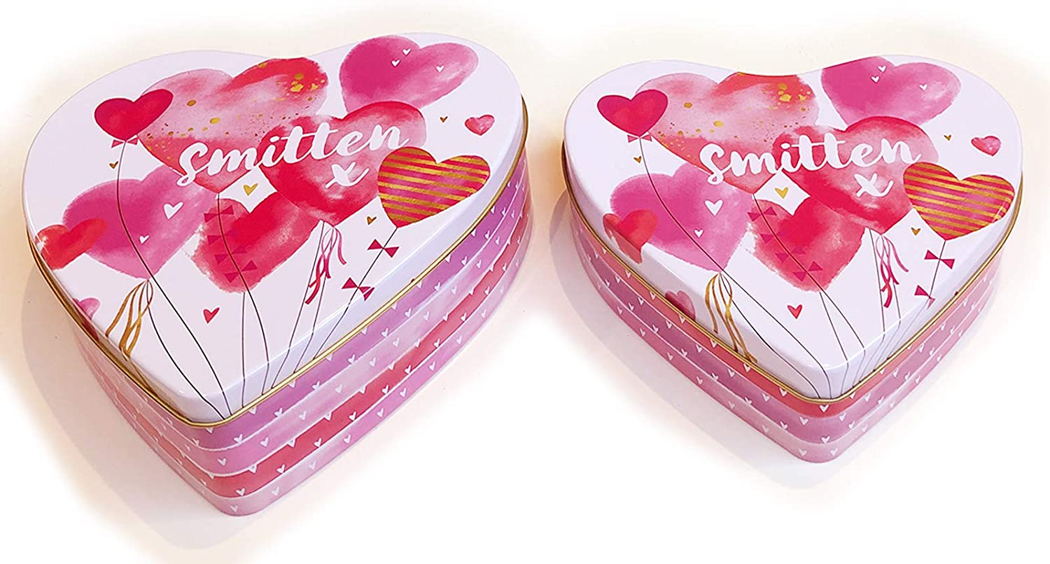Valentines Day Cookie Tins with Lids for Gift Giving Empty Pink Heart Shaped Container for Candy Snack Storage Pastry Treat Swap Metal Box for Goodies Chocolate Nuts, Romantic Love Smitten Tin for Her
