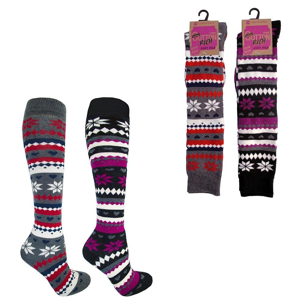 Mujer Rico Algodón Grueso Fairisle Acolchada Calcetines Por La Rodilla Botas De Agua Calcetines Talla UK 4A 7 Ideal Para Navidad - 2 pares, 4-7: Amazon.es: ...