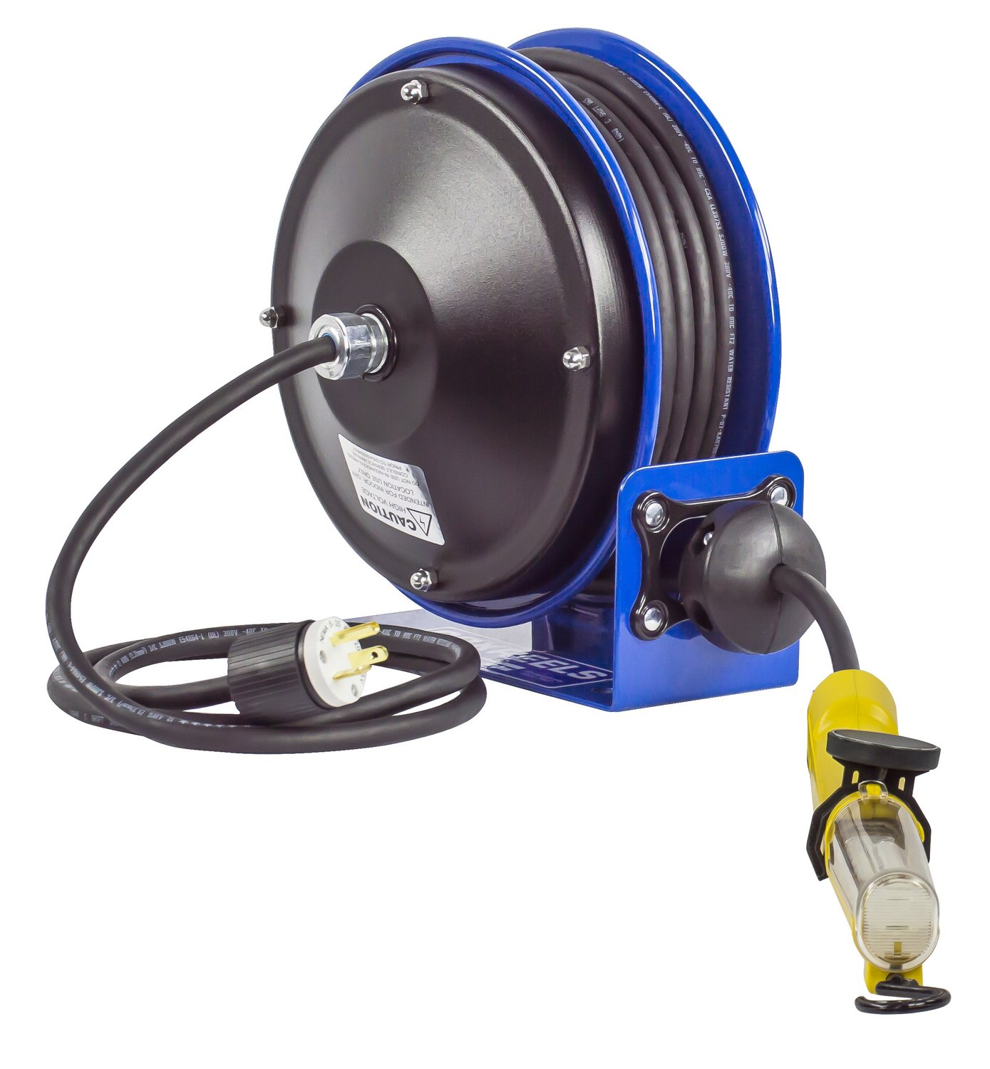 Coxreels PC10-3016-D Compact efficient heavy duty power cord reel with a fluorescent tube light with tool tap