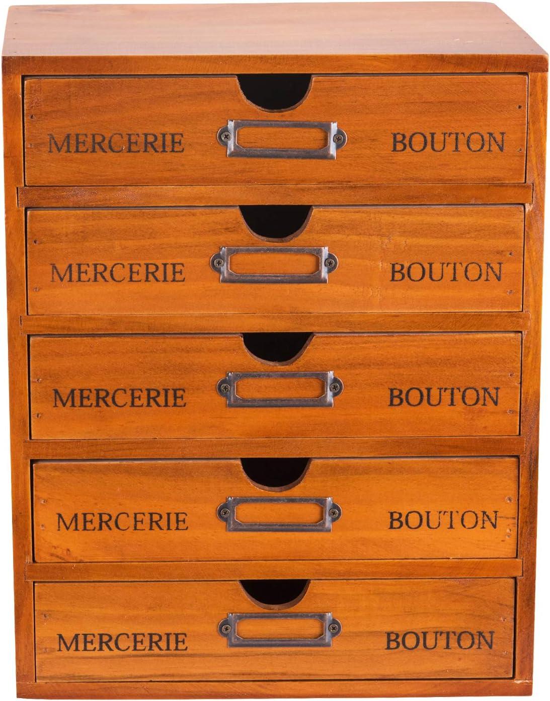 5-Drawer Desk Organizer - Vintage Wooden Storage Box w/ 5 Wide Storage Drawers - Rustic Shelf Drawer - Home Office Desk Organizers and Accessories - Multilevel Wood Table Top Desk Drawer Organizer