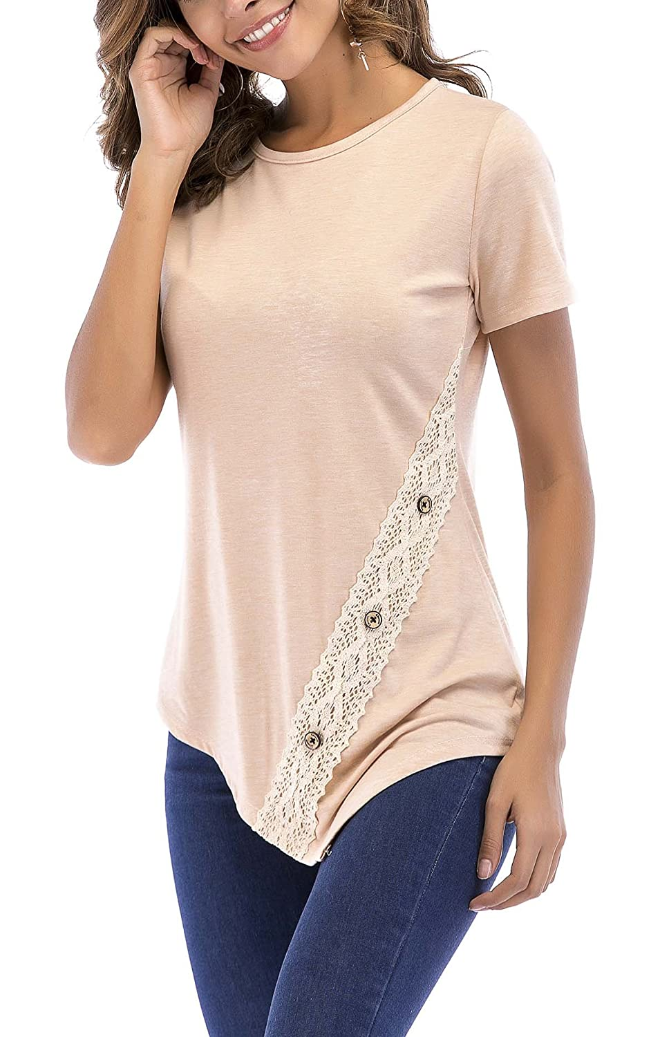 99e26ae47df 8sanlione Womens Short Sleeve Casual Slim Crew Neck Tunic Tops T-Shirt with Lace  Buttons at Amazon Women's Clothing store: