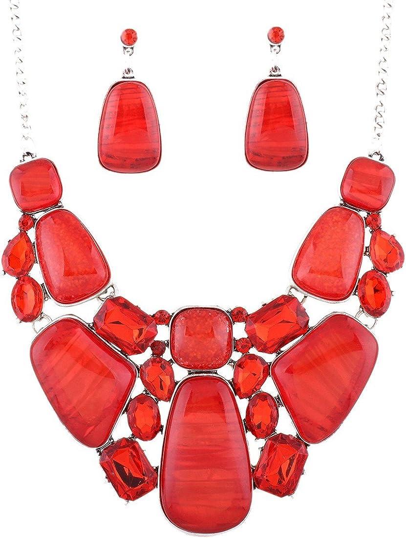 QIYUN.Z Joyería para Mujer Resina Aleación Juegos de Joyas Cojunto de Pendientes y Collar