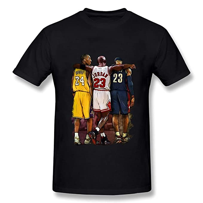Mens Kobe Bryant Michael Jordan LeBron James Three Stars T-shirt Black