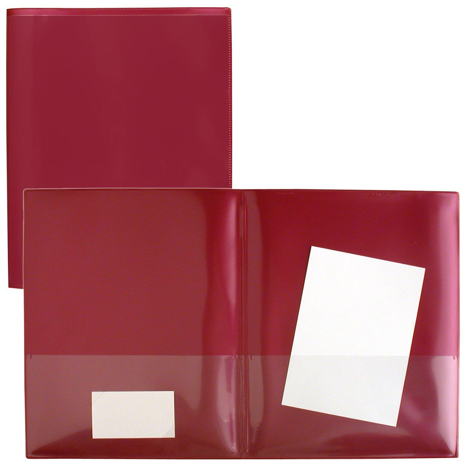 StoreSMART Metallic Maroon Plastic Archival Folders 100-pack - Letter-Size Twin Pocket - (R900MM100)