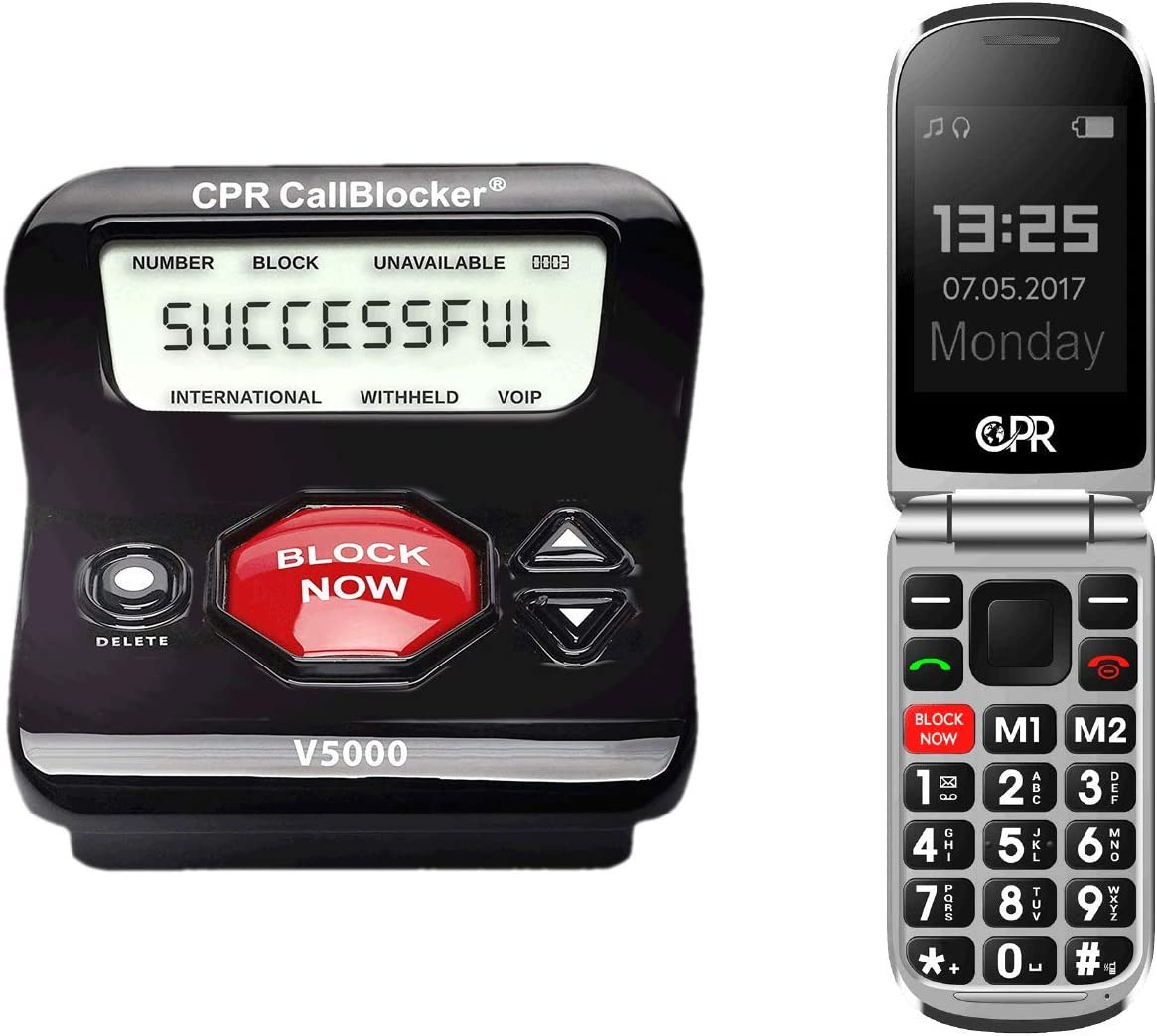 Amazon.com: CPR V5000 Call Blocker for Landline Phones and CS900 Flip Cell  Phone Bundle: Office Products