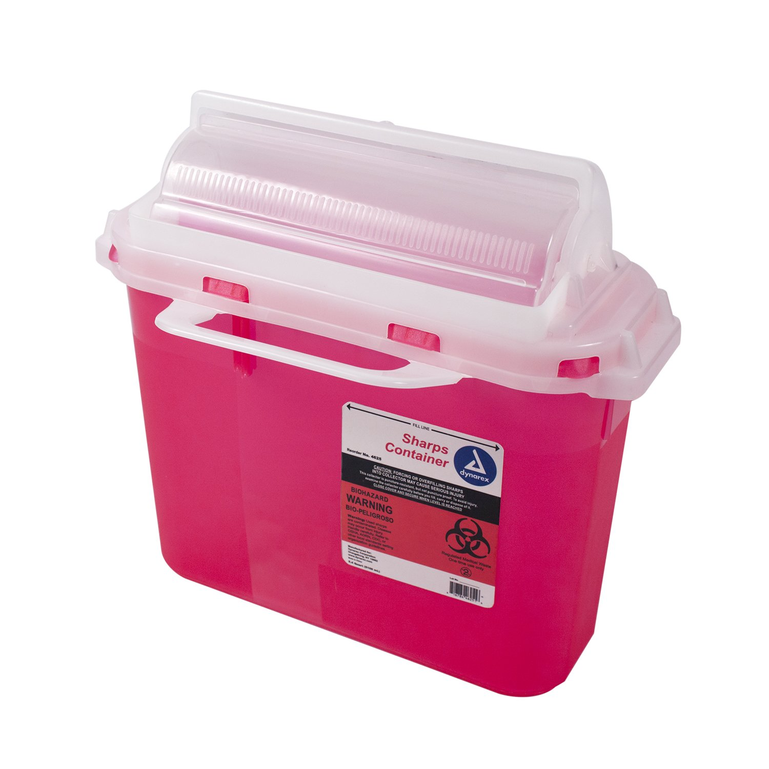 Dynarex Sharps Container - Biohazard Patient Room Needle Disposable - Puncture Resistant - One Handed Use - 5.4 Quart