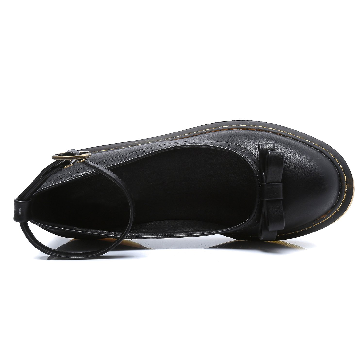 Smilun Lady¡¯s Boat Deck Shoes Dress Formal Driving Shoes Leather for Lady Round Toe Black Size 8 B(M) US by Smilun (Image #3)