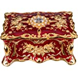 Feyarl Vintage Rectangle Trinket Box Jewelry Box Ornate Antique Finish Engraved with Two- Layer Organizer Box (Red) 7.1 x 4.7