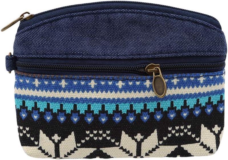bleu Hengxing Porte-monnaie double pour femmes Hengxing sac /à main /à fermeture /à glissi/ère mignon sac /à bijoux bijoux /à motif sac ethnique bourse