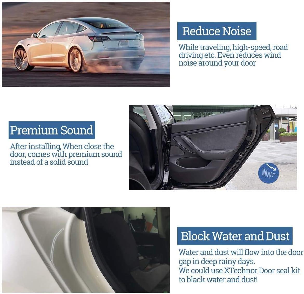 Model S Model X,Model-S Kit de joint de porte Kit de joint de projet de joint de r/éduction du bruit du vent pour caoutchouc anti-poussi/ère insonoris/é en caoutchouc antipoussi/ère pour Tesla Model 3