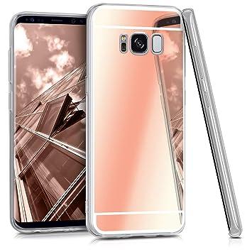 kwmobile Funda para Samsung Galaxy S8 - Carcasa Protectora [Trasera] de [TPU] para móvil en [Oro Rosa con Efecto Espejo]