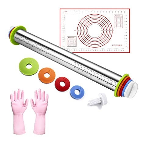 Rolling Pin with Adjustable Guide Rings pastry Icing Fondant Cake Decorating
