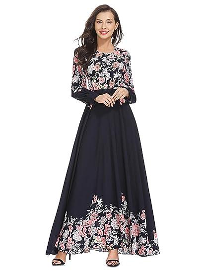219980df4766 SOLY HUX Damen Maxi Kleider Blumenkleid Maxikleid Hohe Taill Floral Kleid A- Kleider Partykleider Langarm für Herbst  Amazon.de  Bekleidung