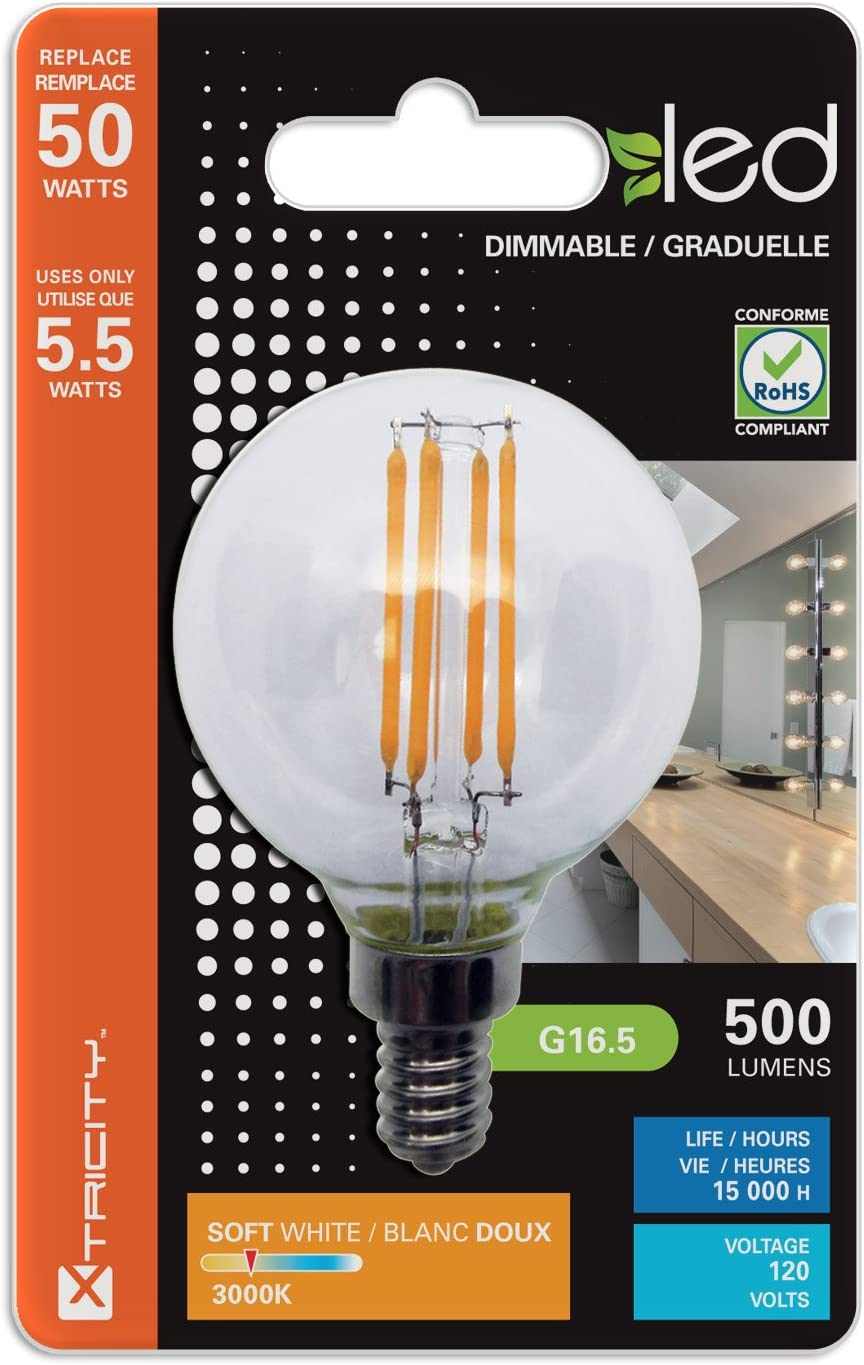 120V E12 Candelabra Base 500 Lumens 50W Equivalent Xtricity 3 Pack LED 5.5W G16.5 Clear Globe Filament Light Bulb Dimmable 3000K Soft White UL Listed,