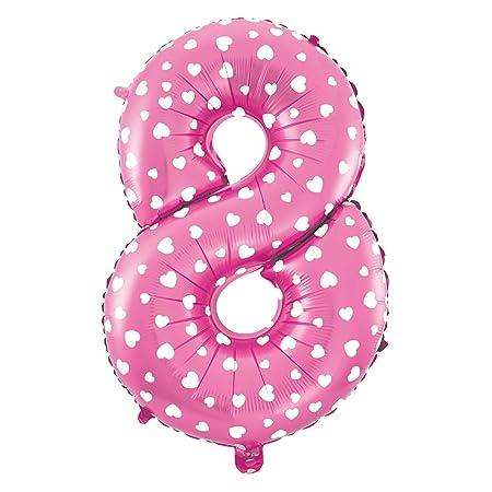 Globo de Número De Foil Color Rosa con Corazón para Fiestas de Cumpleaños 40cm de Alto