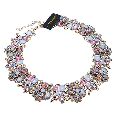 Jerollin Women Fashion Necklace Necklets Glass Bib Cluster Statement Chain Crystal Collar Choker Statement Necklaces s56zM5k