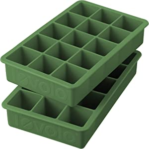 "Tovolo Perfect Ice Mold Freezer Tray of 1.25"" Cubes for Whiskey Bourbon, Spirits & Liquor, BPA-Free Silicone, Fade Resistant, Set of 2, Pesto"