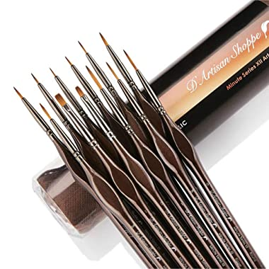 Miniature Paint Brushes Detail Set -12pc Minute Series XII Miniature Brushes for Fine Detailing & Rock Painting. Acrylic Watercolor Oil - Art, Scale Models, Paint by Numbers Supplies Kit