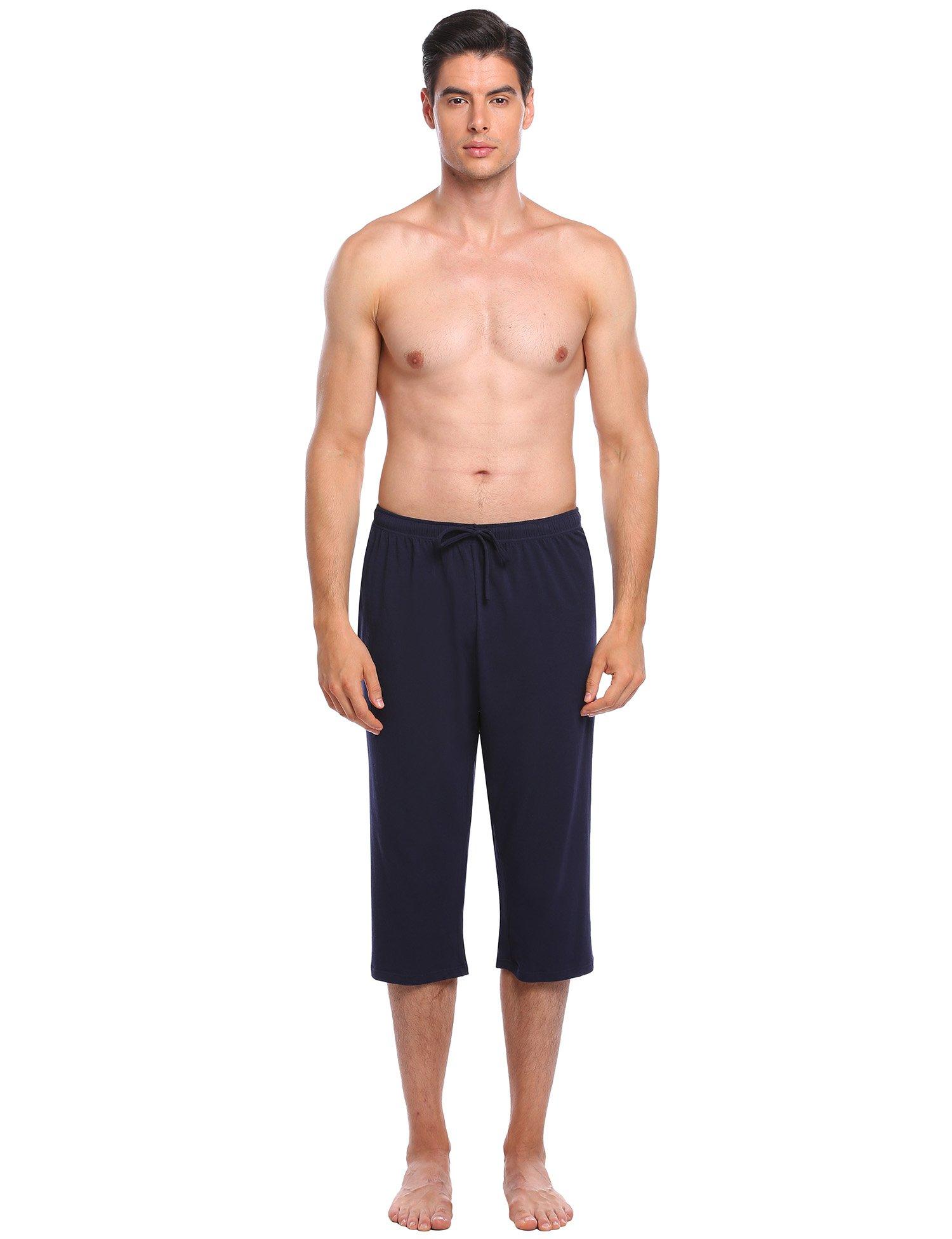 L'amore Men's Casual Comfortable Solid Pocket Lounge Elastic Drawstring Waistband Shorts
