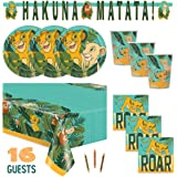The Lion King Theme Birthday Party Supplies Set Serves 16 - Tablecover, Banner Decoration, Plates, Napkins, Cups and Candles - Nala and Simba
