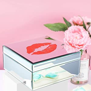 Mirrored Jewelry Box for Women and Girls,Personalized Jewelry Organizer with Romantic Lights,Display Storage Box (Mirrored Red Lip) … …